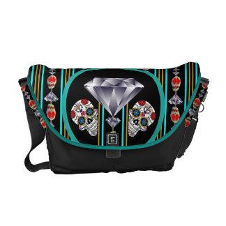 Turquoise Double Diamond Edition Sugar Skull Messenger Bag