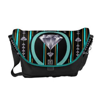 Turquoise Double Diamond Messenger Bag