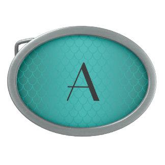 Turquoise dragon scales monogram belt buckle