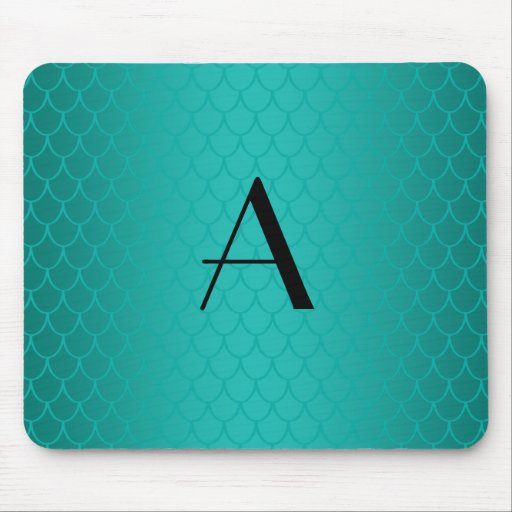 Turquoise dragon scales monogram mouse pad