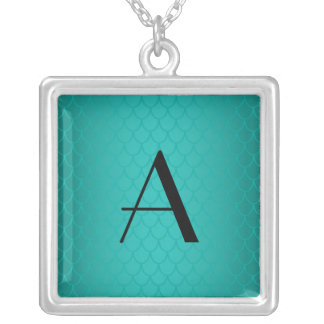 Turquoise dragon scales monogram square pendant necklace