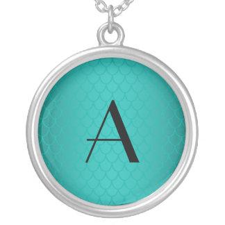 Turquoise dragon scales monogram round pendant necklace