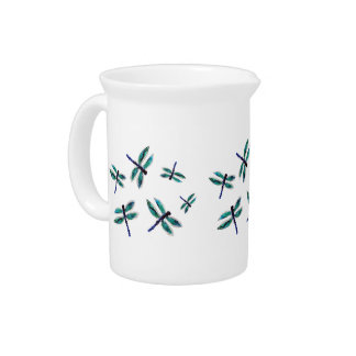 Turquoise Dragonfly Art Beverage Pitcher