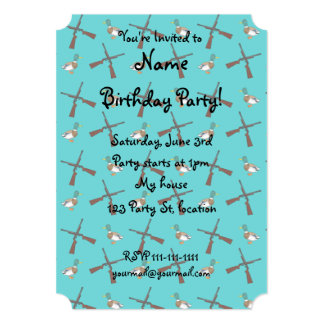 Turquoise duck hunting pattern 5x7 paper invitation card