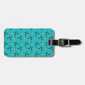 Turquoise duck hunting pattern tags for bags