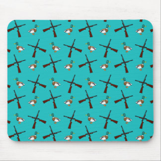 Turquoise duck hunting pattern mouse pad