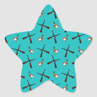 Turquoise duck hunting pattern star sticker