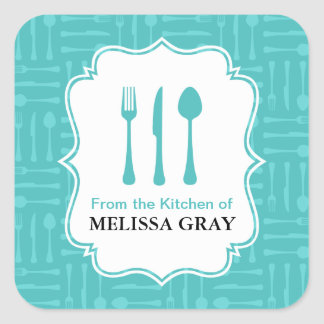 Turquoise Eating Utensils Kitchen Labels