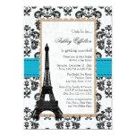 Turquoise Eiffel Tower Parisian Bridal Shower 5x7 Paper Invitation Card
