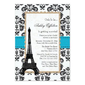 Turquoise Eiffel Tower Parisian Bridal Shower Card