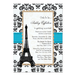 Turquoise Eiffel Tower Parisian Bridal Shower Cards