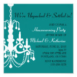"Turquoise Elegant Chandelier Housewarming Invite 5.25"" Square Invitation Card"