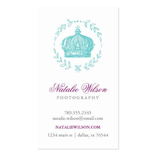 Turquoise Elegant Vintage Crown Vertical Business Card