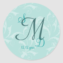 Turquoise Elegant Wedding Invitation Classic Round Sticker