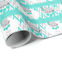 Turquoise  Elephant Baby Shower Wrapping Paper