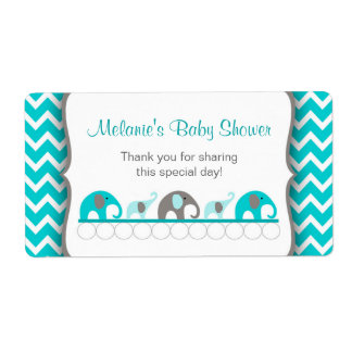 Turquoise Elephant Parade Water Bottle Labels