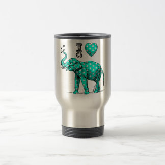 Turquoise elephant. Polka dot elephant. Cute. Travel Mug