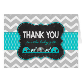 Turquoise Elephants baby shower thank you notes Stationery Note Card