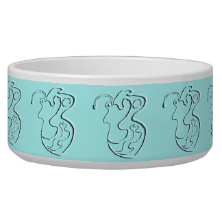 "Turquoise Embossed ""Pink Lady"" Flutterfly Bowl"