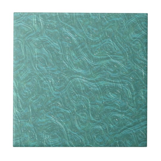 Turquoise Etched Glass. Retro Vintage Pattern Ceramic Tile
