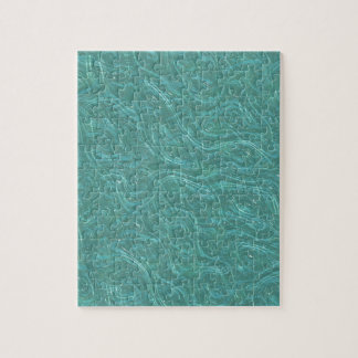 Turquoise Etched Glass. Retro Vintage Pattern Jigsaw Puzzle