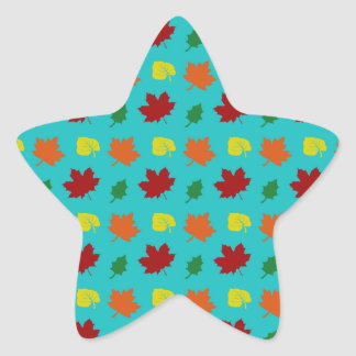 Turquoise fall leaves star sticker