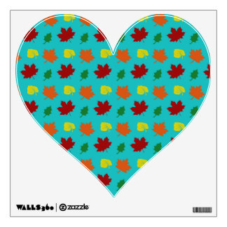 Turquoise fall leaves wall skin