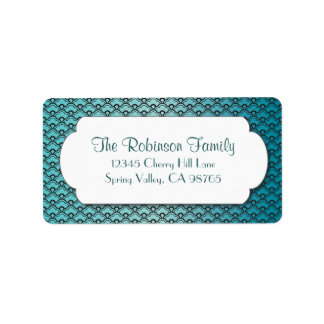 Turquoise Fan Pattern with White Frame Label
