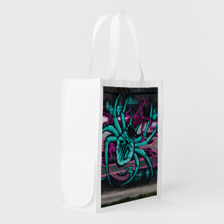 Turquoise Fantasy Spider Grocery Bag