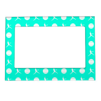Turquoise Fastpitch Pattern Magnetic Picture Frame