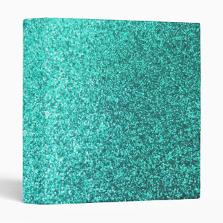 Turquoise faux glitter graphic 3 ring binder