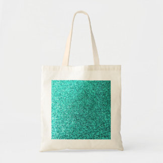 Turquoise faux glitter graphic canvas bag