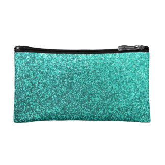 Turquoise faux glitter graphic cosmetic bags