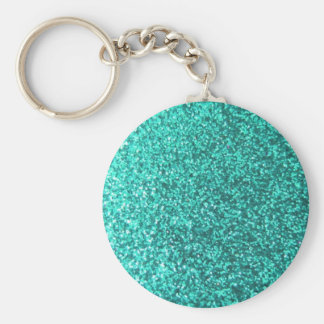 Turquoise faux glitter graphic basic round button keychain