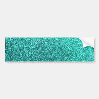 Turquoise faux glitter graphic car bumper sticker