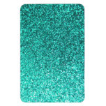 Turquoise faux glitter graphic flexible magnets