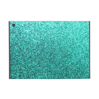 Turquoise faux glitter graphic iPad mini cases