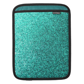 Turquoise faux glitter graphic iPad sleeve