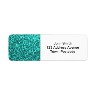 Turquoise faux glitter graphic label