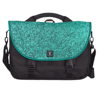 Turquoise faux glitter graphic laptop computer bag