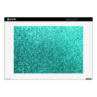 Turquoise faux glitter graphic laptop decals
