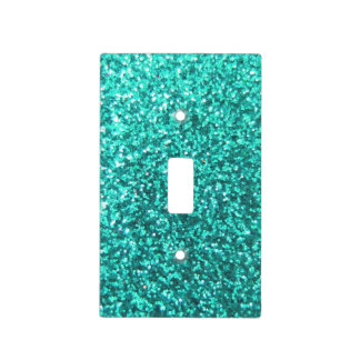 Turquoise faux glitter graphic switch plate covers