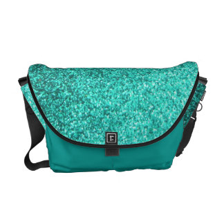 Turquoise faux glitter graphic courier bags