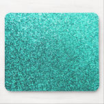Turquoise faux glitter graphic mouse pad