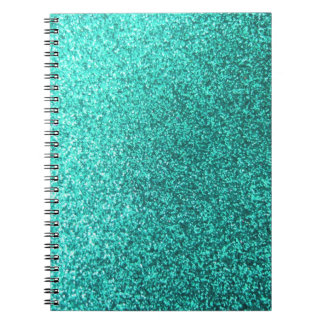 Turquoise faux glitter graphic notebook
