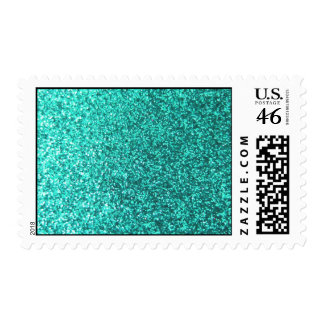 Turquoise faux glitter graphic postage stamp