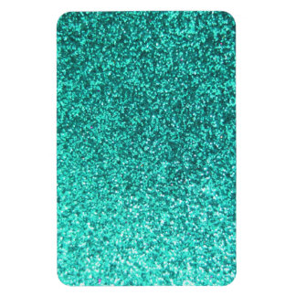 Turquoise faux glitter graphic rectangular photo magnet