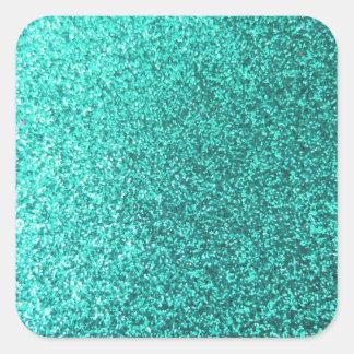 Turquoise faux glitter graphic square sticker