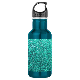 Turquoise faux glitter graphic stainless steel water bottle