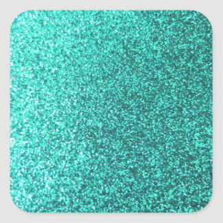 Turquoise faux glitter graphic square stickers